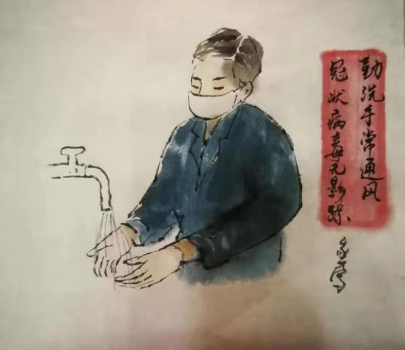 遂宁画家王家才助力抗疫宣传