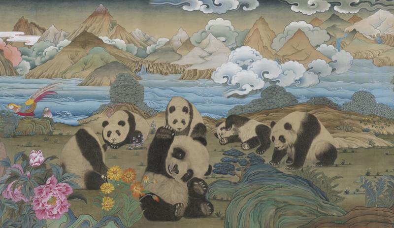 A 172m-long 'Hundreds of Giant Panda Thang-ga Long Scroll' dazzles Chengdu