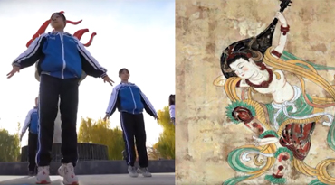 Morning exercises to Dunhuang Dance :What are the students dancing for?