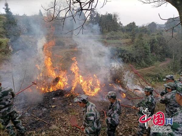 江安县下长镇组织开展2021年森林防灭火演练